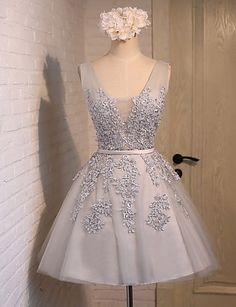 Pretty Charming V-neck Grey Lace Short Homecoming Dresses Prom Dresses Short, Prom Dresses, Homecoming Dress, Grey Prom Dresses, V-neck Prom Dresses Homecoming Dresses 2019 Girls Bridesmaid Dresses, Lace Homecoming Dresses, Graduation Dresses, Evening Dresses, Summer Dresses, Dress Prom, Dresses 2016, Wedding Dresses, Bridal Gowns