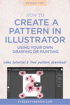 How to create a pattern in Illustrator using your own drawing or painting - EyeSavvy Design - how to create a pattern in Illustrator using your own drawing or painting Flat Design, Web Design, Graphic Design Tools, Graphic Design Tutorials, Graphic Design Inspiration, Tool Design, Graphic Projects, Design Layouts, Design Posters