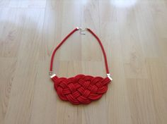 Cotton cord necklace. Knot necklace. red necklace by Kreseme