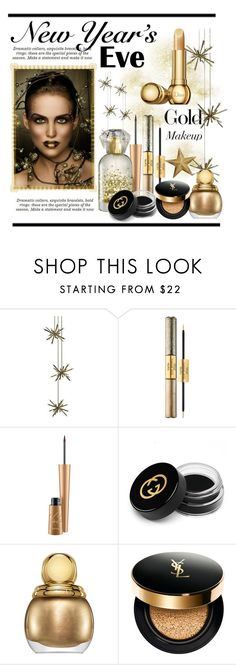 """""""New Year's Eve.... Gold Makeup"""" by conch-lady ❤ liked on Polyvore featuring beauty, tarte, Gucci, Christian Dior, Yves Saint Laurent, newyear, nye and goldmakeup"""