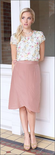 Double Scallop Skirt [MSS1834B] - $34.99 : Mikarose Boutique, Reinventing Modesty