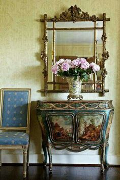 JoBeth Williams' Spanish-Style Home - Traditional design decorating before and after home design design ideas Design Entrée, House Design, Design Ideas, Home Interior, Interior Design, Modern Interior, English Decor, Romantic Room, Painted Chest