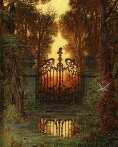 """""""German painter Ferdinand Knab was born The first painting, titled The Castle Gate (Das Schloss Portal), inspired some rather strange writing last year. Fantasy Magic, Fantasy World, Fantasy Art, Fantasy Forest, Castle Gate, Fantasy Places, Fantasy Landscape, Belle Photo, Faeries"""
