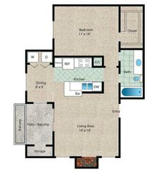 Aruba Floor Plan - 1 Bath with approximately 700 square feet. Enjoy a separate dining area which could also be used as a home office! Lakeside Dining, University Of Houston, Clear Lake, Contemporary Apartment, Two Bedroom Apartments, Closet Bedroom, Small House Plans, Square Feet, Dining Area