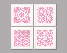 Pink Geometric patterns 8x8 printable wall art by Especia on Etsy