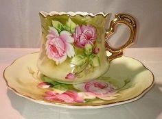 Vintage LEFTON Fine Bone China Tea Cup & Saucer Handpainted Pink roses & gold!