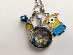 Despicable Me Minions Inspired Living Locket Necklace Minion Locket. Cute! I'd love to have this!
