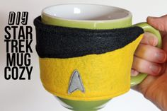 punk projects: Star Trek Shirt Coffee Mug Cozy. Good thing it's not red, because then you'd be drinking bad luck.