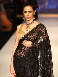 Black lace saree worn during the 2012 Indian Jewellery Fashion Week.