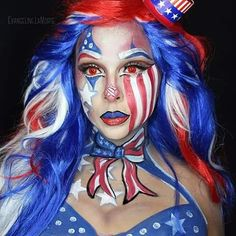 Ms. Independence. Body face makeup art. Patriotic. Forth of July.