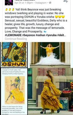 Follow♔ @badgalronnie ♔@Jasmeneb47: shun the water deity, I feel so late I remember learning about her in high school  (on my own).but that pretty awesome that Beyonce basic her album on her experience in life but aligned it with African m mythology deity.This why I admire her art. Beyonce Facts, Beyonce Funny, Black History, Oshun Goddess, African Mythology, African Goddess, Black Magic, 3rd Eye, Orisha