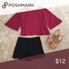 Burgundy blouse and black shorts Both the blouse and shorts are Smalls. Bundle both for $20 🎉🎉 Tops Blouses