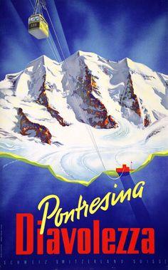Pontresina Diavolezza, by Martin Peikert Fürstentum Liechtenstein, Vintage Ski Posters, Mountain Illustration, Best Ski Resorts, Ski Vacation, Airline Travel, Illustrations And Posters, Poster Prints, St Gallen
