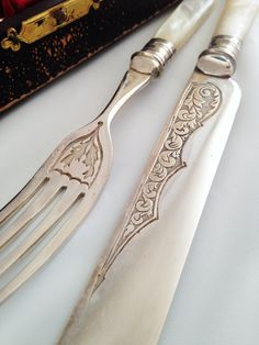 Exquisite Mother of Pearl and Silver Knives and Forks, Early 1900's. Original Case. English. Set of Twelve. Great Gift! by PigtownDesign on Etsy
