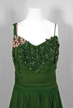 1950's Rudolf Couture Green Draped Beaded Silk-Chiffon Gown   From a collection of rare vintage evening dresses at https://www.1stdibs.com/fashion/clothing/evening-dresses/