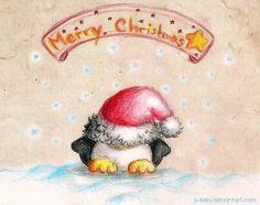 Christmas Penguin 2012 by B-Keks Penguin Drawing, Penguin Art, Penguin Love, Cute Penguins, Christmas Drawing, Christmas Paintings, Cute Drawlings, Pencil Drawings Of Animals, Christmas Rock