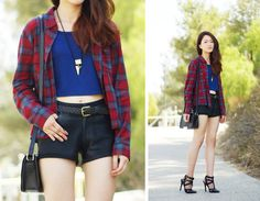 Forever 21 Plaid Shirt, Gypsy Warrior Crop Top, 2020ave Rings, 2020ave Heels, In My Air Coated Shorts