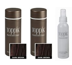 2x Toppik Hair Fiber Dark Brown Color Each 25 Gram + Hair Spry +swisa Beauty Dead Sea nail buffer by Toppik. $96.00. 1x spry to hold the fiber. 2x toppik dark brown 25 gram each. * THICKER & FULLER HAIR IN SECONDS * ALL NATURAL * WATER & WIND RESISTANT * COLOR-MATCHING (AVAILABLE IN 9 DIFFERENT SHADES!) * INDISTINGUISHABLE FROM NATURAL HAIR * AVAILABLE IN FOUR DIFFERENT SIZES TO FIT YOUR INDIVIDUAL NEEDS * FULLY COMPATIBLE TO USE WITH ALL HAIR GROWTH THERAPIES