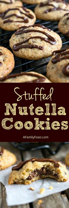 Stuffed Nutella Cookies - Sweet cookies stuffed with a Nutella and hazelnut filling and topped with a drizzle of Nutella ganache. So delicious!