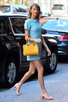 New look: Later the Blank Space singer changed out of her shorts and channeled the 1950's ...
