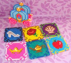 Princess perler beads coasters set