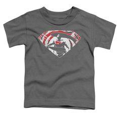 Batman V Superman/Super Splatter Logo Short Sleeve Toddler Tee in Charcoal, Toddler Boy's