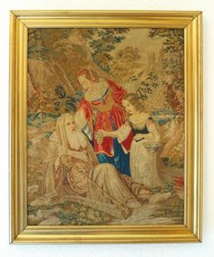 Large Antique Framed Tapestry Panel - Figures in Landscape. | eBay