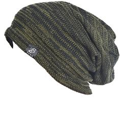 Vintage Men Baggy Beanie Slouchy Knit Skull Cap Hat (B5001-Green)