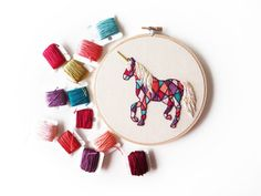Geometric Unicorn Embroidery 6 Hoop by AlexsEmbroidery on Etsy