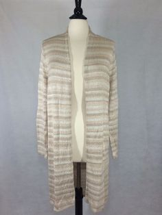 CHICO'S NEW $119 Kennedy Striped Cardigan 2 = 12/14 Blush Soft Womens Top NWT #Chicos #Cardigan #Career