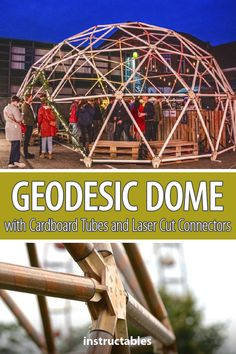 This large geodesic dome is made out of cardboard tubes and wooden laser cut connectors. Fusion 360, Cute Garden Ideas, Geodesic Dome Homes, Dome House, Cardboard Tubes, Teacher Notes, Diy Greenhouse, Diy Wood Projects, Box Design