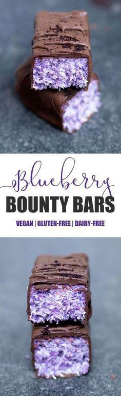 Blueberry Bounty Bars #vegan #glutenfree #blueberry #coconut #bounty #bars #chocolate #candy #healthy #dairyfree #blueberrypowder #treat #snack #dessert #nobake #nutfree #paleo #purple #blue http://healthyquickly.com http://healthyquickly.com