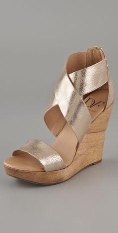 Diane von Furstenberg Opal X Cross Wedge Sandals - StyleSays