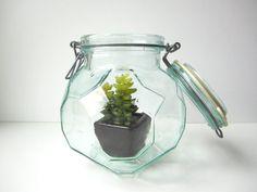 Vintage Hermetic Green Glass Storage Jar Italy by HerVintageCrush, $24.00