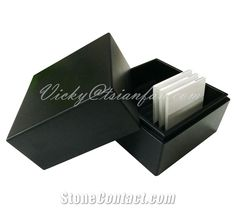 Black Mdf Stone Tile Sample Box Sample Box, Stone Tiles, Container, Packaging, Black, Floors Of Stone, Black People, Wrapping