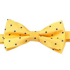 Ring Bearer - White dress shirt - Yellow w blue polka dot bowtie