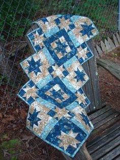 Blue and Brown Quilted Star Table Runner by Jackiesewingstudio, $47.00