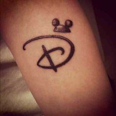 Disney 'D' tattoo..I want this but instead of Mickey's ears, I want Eeyore's tail coming off of the bottom.