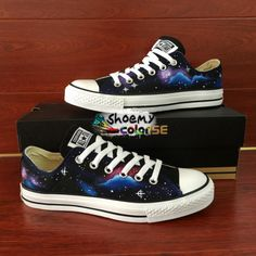 39a6c768dcd3 Galaxy Converse Low Top Hand Painted Canvas Sneaker Women Men Gifts via  WenArtWork Galaxy Converse