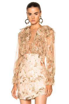 Zimmermann Bowerbird Teased Blouse in Apricot Floral   FWRD