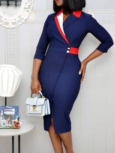 Contrast Color Wrap Slit Pencil Dress dresses and accessories all over the world at competitive prices, and with a high level of customer care. African Fashion Designers, Latest African Fashion Dresses, African Print Fashion, Africa Fashion, Dress Outfits, Fashion Outfits, Fashion Hacks, Dress Fashion, Corporate Attire