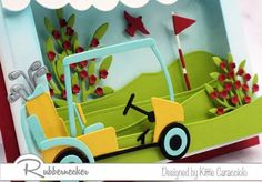 Shadow box cards give you lots of depth to create incredibly dimensional scenes, like this fun shadow box greeting card for golfers! All those fabulous details were made thanks to clever dies from Rubbernecker and I am sharing all my fun little tips to make this yourself - come on over and get a closer look!