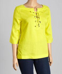 Lime Lace-Up Linen-Blend Blouse - Plus #zulily #zulilyfinds