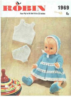 Robin 1969 dolls matinee set vintage knitting pattern