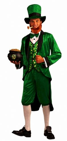 Mr. Leprechaun St. Paddys Day Costume - This leprechaun should be lucky this Saint Pat's day. This fancy guy has a black lapelled jacket made from a soft crushed velvet material with an attached shirt front, vest and matching bowtie. The hat and pants are made from the same material and have an elastic stretch waistband. Great for St. Patrick's Day celebrations, Green parties, and Halloween. Does not include socks, beard, pipe, shoes or pot of gold. #ireland #yyc #calgary #costume #mens