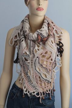 Reserved  for Mieke 10. Sahara / Lace Freeform Crochet Cotton Scarf Shawl / Wearable Art / OOAK