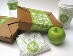 Another example of effective wrapped packaging with the box and the sticker (with nice illustrations—hinting at other products). I love how the brand all stems from the apple's green color, a restaurant like this would have to include it everywhere. Stickers are underused in branding.