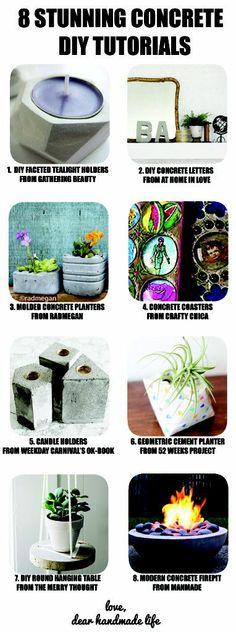 eight stunning concrete diy craft tutorials - dear handmade life