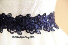 Navy Beaded Flower Lace Sash / Bridal Wide Sash by lovelikestyle