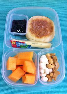 English Muffin, Jelly, String Cheese, Cantaloupe, Yogurt Covered Raisins, Cashews.